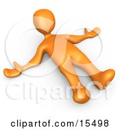Orange Person Lying On The Ground While Opposing Something Clipart Illustration Image