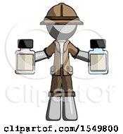Gray Explorer Ranger Man Holding Two Medicine Bottles