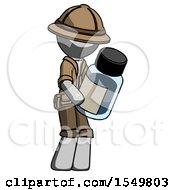 Gray Explorer Ranger Man Holding Glass Medicine Bottle