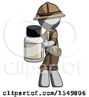 Gray Explorer Ranger Man Holding White Medicine Bottle