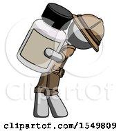 Gray Explorer Ranger Man Holding Large White Medicine Bottle