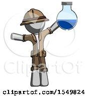Gray Explorer Ranger Man Holding Large Round Flask Or Beaker