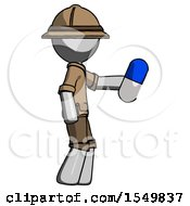 Gray Explorer Ranger Man Holding Blue Pill Walking To Right