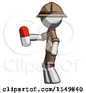 Gray Explorer Ranger Man Holding Red Pill Walking To Left