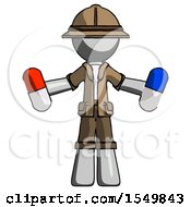 Gray Explorer Ranger Man Holding A Red Pill And Blue Pill