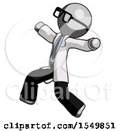 Gray Doctor Scientist Man Running Away In Hysterical Panic Direction Left