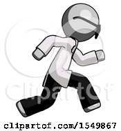 Poster, Art Print Of Gray Doctor Scientist Man Running Fast Right