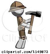 Gray Explorer Ranger Man Hammering Something On The Right