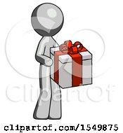 Gray Design Mascot Man Giving A Present