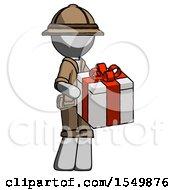 Gray Explorer Ranger Man Giving A Present