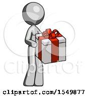 Gray Design Mascot Woman Giving A Present