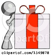 Gray Design Mascot Man Gift Concept Leaning Against Large Present