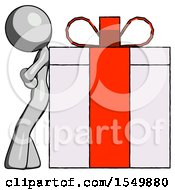 Gray Design Mascot Woman Gift Concept Leaning Against Large Present