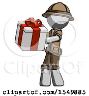 Gray Explorer Ranger Man Presenting A Present With Large Red Bow On It