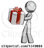 Gray Design Mascot Woman Presenting A Present With Large Red Bow On It