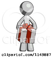 Gray Design Mascot Man Gifting Present With Large Bow Front View