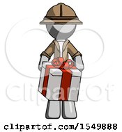 Gray Explorer Ranger Man Gifting Present With Large Bow Front View