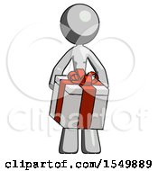 Gray Design Mascot Woman Gifting Present With Large Bow Front View