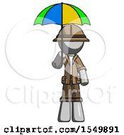 Gray Explorer Ranger Man Holding Umbrella Rainbow Colored