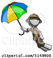 Gray Explorer Ranger Man Flying With Rainbow Colored Umbrella