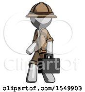 Gray Explorer Ranger Man Walking With Briefcase To The Left