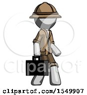 Gray Explorer Ranger Man Walking With Briefcase To The Right