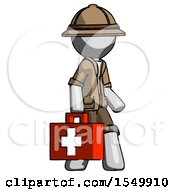 Gray Explorer Ranger Man Walking With Medical Aid Briefcase To Right