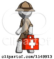 Gray Explorer Ranger Man Walking With Medical Aid Briefcase To Left