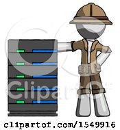 Gray Explorer Ranger Man With Server Rack Leaning Confidently Against It