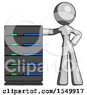 Gray Design Mascot Woman With Server Rack Leaning Confidently Against It