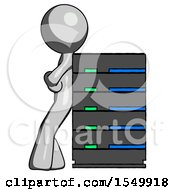 Gray Design Mascot Man Resting Against Server Rack