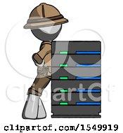 Gray Explorer Ranger Man Resting Against Server Rack