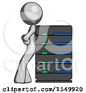 Gray Design Mascot Woman Resting Against Server Rack