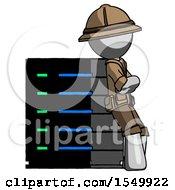 Gray Explorer Ranger Man Resting Against Server Rack Viewed At Angle