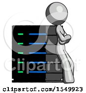 Gray Design Mascot Woman Resting Against Server Rack Viewed At Angle