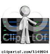 Gray Design Mascot Man With Server Racks In Front Of Two Networked Systems