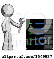Gray Design Mascot Man Server Administrator Doing Repairs