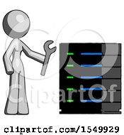 Gray Design Mascot Woman Server Administrator Doing Repairs