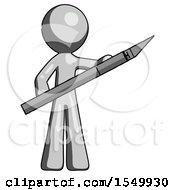 Gray Design Mascot Man Holding Large Scalpel