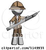Gray Explorer Ranger Man Holding Large Scalpel