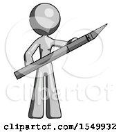 Gray Design Mascot Woman Holding Large Scalpel