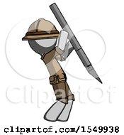 Gray Explorer Ranger Man Stabbing Or Cutting With Scalpel