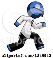 Poster, Art Print Of Blue Doctor Scientist Man Running Fast Right