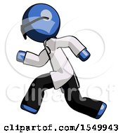 Poster, Art Print Of Blue Doctor Scientist Man Running Fast Left