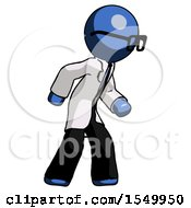 Blue Doctor Scientist Man Suspense Action Pose Facing Right