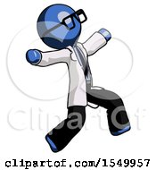 Blue Doctor Scientist Man Running Away In Hysterical Panic Direction Right