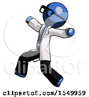 Blue Doctor Scientist Man Running Away In Hysterical Panic Direction Left