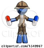 Blue Explorer Ranger Man Holding A Red Pill And Blue Pill