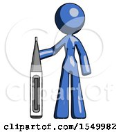 Blue Design Mascot Woman Standing With Large Thermometer