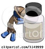 Blue Explorer Ranger Man Pushing Large Medicine Bottle
